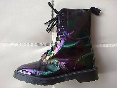DOC DR MARTENS LANGSTON PETROL OIL SLICK BLACK BOOTS RARE UNISEX 5UK US: W7 M6