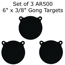 """Set of 3 Ar500 Steel 6"""" X 3/8"""" Shooting Targets Gong Style"""