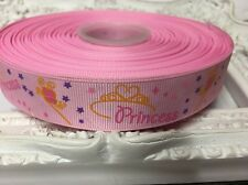 New 1 Metre Pink Princess Print Grosgrain Ribbon Designer 22mm Cakes Bow Dummy