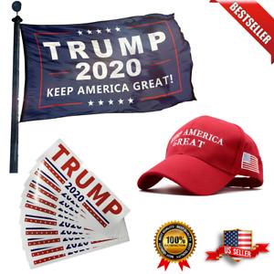 Donald Trump 2020 Deluxe 3 Pack Includes 2020 Flag Trump Hat & Bumper Sticker