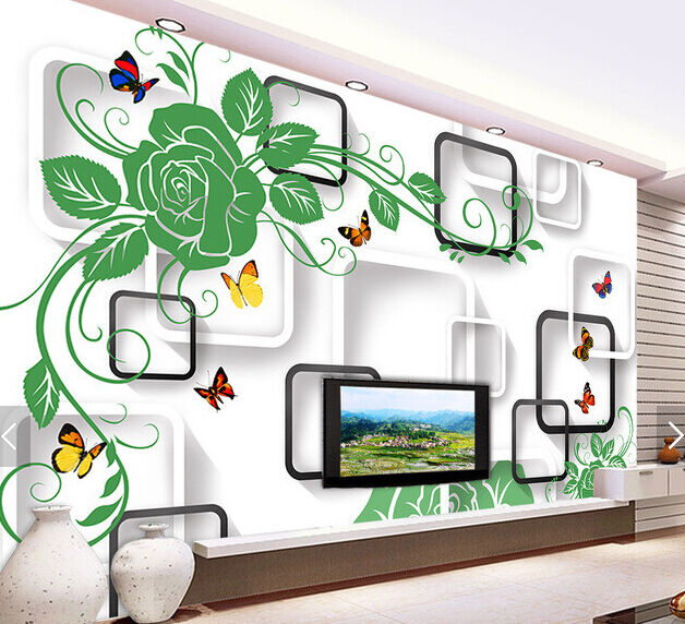 3D Grün Flowers Butterfly 3 Paper Wall Print Wall Decal Wall Deco Indoor Murals