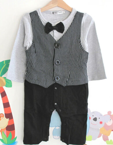 1-tlg Baby Junge festlich Festanzug Taufe Anzug Spieler Strampler 74-86 Baumw