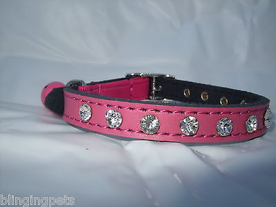 Cat collar real leather Diamante rhinestone, kitten safety elastic Bling genuine