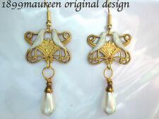Art Nouveau Art Deco earrings Edwardian wedding vintage style bridal pearl drop