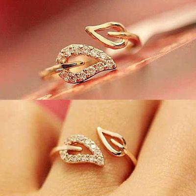 womens Gold Filled Rhinestone Leaf Finger Ring Jewelry Gift