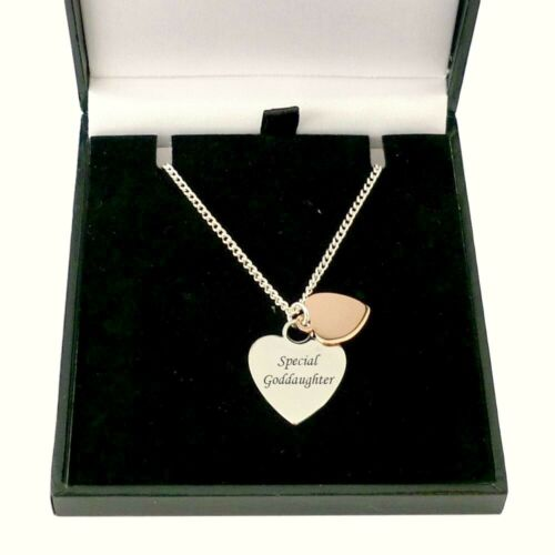 Any Engraving Personalised Necklace with Two Hearts Rose Gold /& Silver Plated