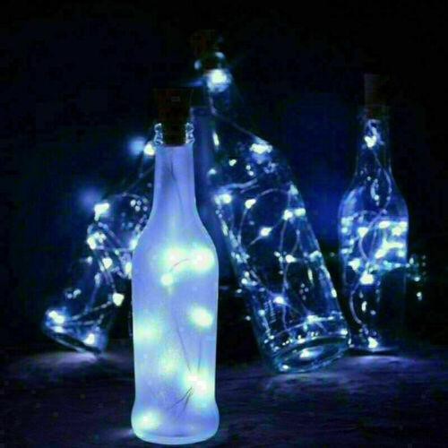 20 LED Wine Bottle Cork Copper Wire Fairy Lights Starry Solar Powered UK STOCK