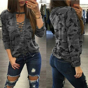 Women-V-Neck-Lace-Up-Camo-T-Shirt-Long-Sleeve-Casual-Loose-Blouse-Sweatshirt-Tee