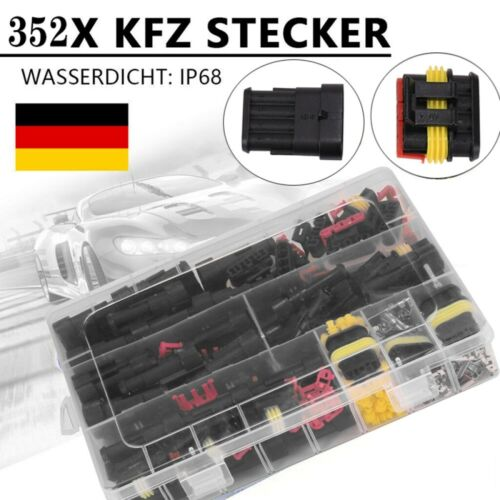 352x Auto KFZ Stecker Set Steckverbindung Wasserdicht Kabel 1-4 Pin Fach DHL