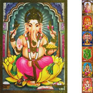 GANESHA-Ganapati-Altarbild-Praegedruck-Goldrand-versch-Motive-Lord-Ganesh-Shiva