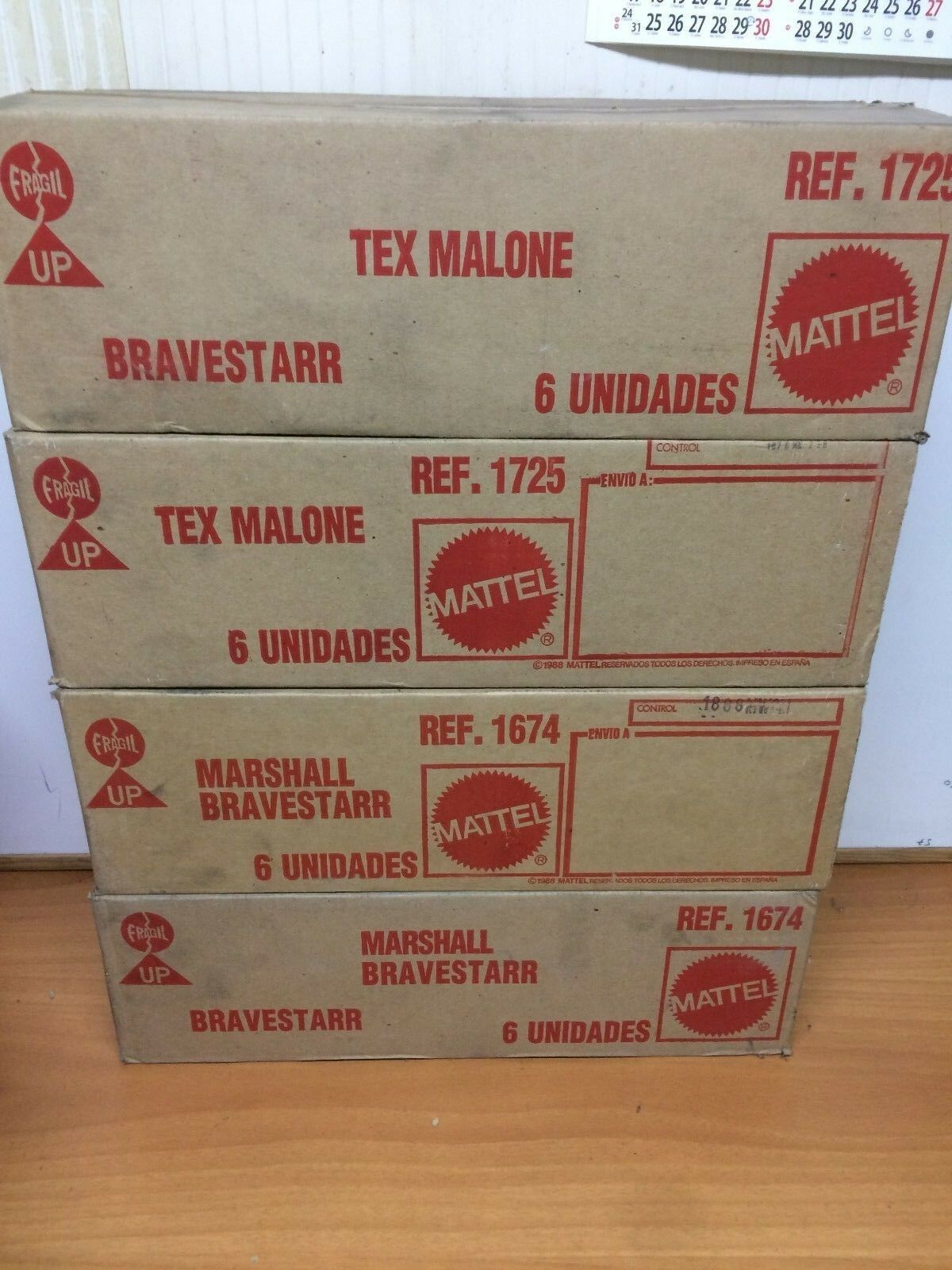 Lot 4 X EMPTY SHIPPING BOX BRAVESTARR MR MARSHALL TEX MALONE MATTEL  SPANISH