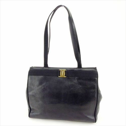 8d9929d6c9 Salvatore Ferragamo Tote bag Vera Black Gold Woman Authentic Used G1253