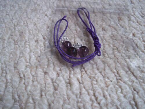 Pouch 8mm Natural Amethyst Purple bead Flex Bracelet