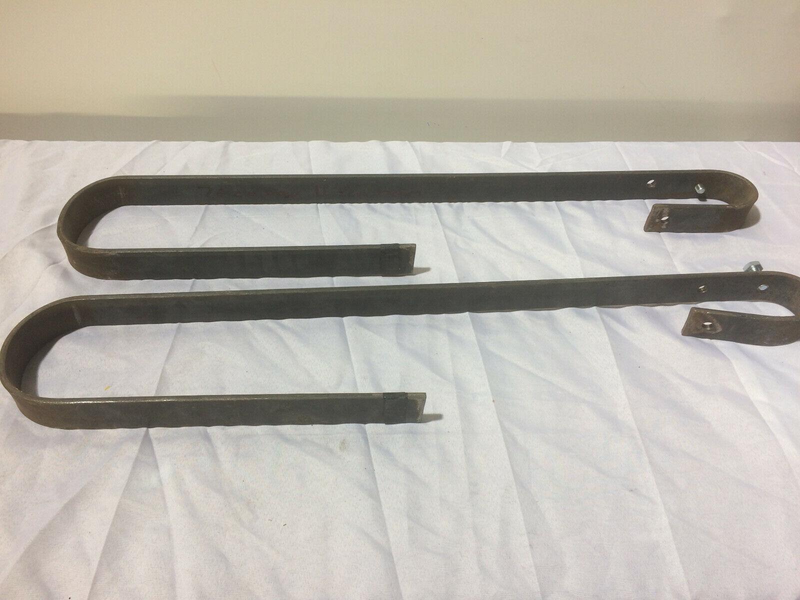 Pair of Mild Steel Hanging Brackets - suspend a scaff bar 10-11.5cm wood beam