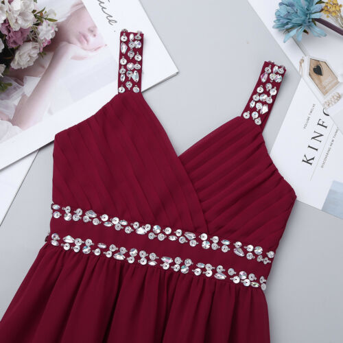 Kids Girls Sleeveless Sequined Floral Chiffon Dress Party Summer Casual Dresses
