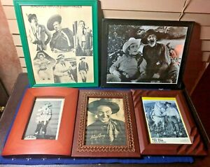 Lot of Vintage Country Western Actor Singer Framed Photographs Roy Rogers Hayes+