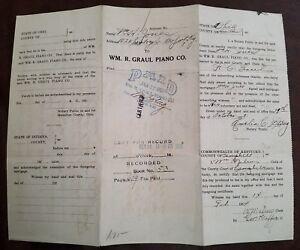 WM. R. GRAUL PIANO CO NEWPORT KY ORIGINAL VINTAGE 1924 PLAYER PIANO NOTE RECEIPT