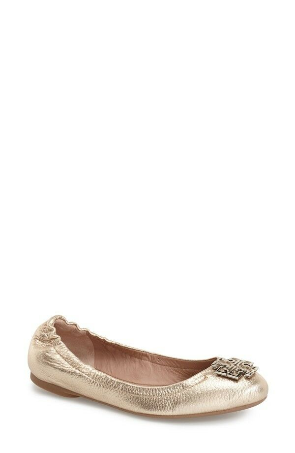 250+ Tory Burch MELINDA Logo Ballet Flat Shoe Metallic Platinum Pelle 9.5