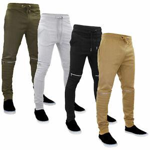 suitable for men/women get online popular design Details about Mens Trouser Slim Biker Style Jogging Bottoms Rib Waistband  Low Rise Joggers