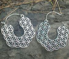 Sacred Geometry Silver Plate Flower of Life Earrings