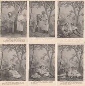 Cartes-postales-anciennes-CPA-Serie-de-6-Charme-L-039-amour-n-039-a-pas-de-saison
