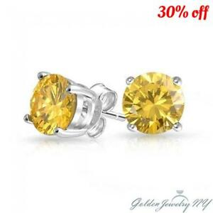 865e0e1f6 14K Solid White Gold Round Canary Yellow CZ Stud Earrings Basket ...