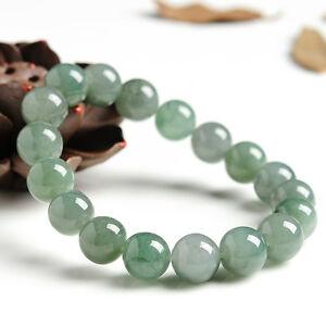 Natural-Grade-A-Oil-Green-Jade-jadeite-10mm-Round-Bead-Bracelet-Good-Luck