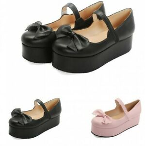 Sweet-Women-039-s-Girls-Lolita-Bowknot-Mary-Janes-Strap-Cosplay-Casual-Shoes-44-47-D