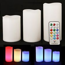 """3pc LED Flameless Candles 4"""" 5"""" 6"""" Pillar 12 Color Changing w/ Remote Glow NEW"""