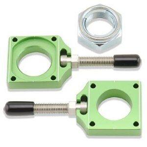 Bolt-Chain-Adjusters-Axle-Blocks-Green-Kawasaki-KX250F-KXF-250-2004-2018-NEW