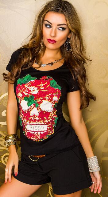 MISSY  T-Shirt Shirt  mit Strass Totenkopf mehrfarbig/schwarz  Größe M/L