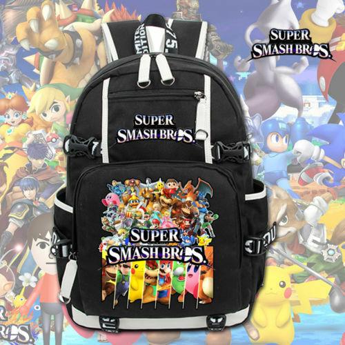 Super Smash Bros Backpack Kids Unisex schoolbag Rucksack Shoulder Travel Bags~~