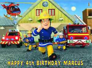 Edible Fireman Sam Fire Engine Happy Birthday Name Age Icing Cake