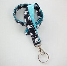 Lanyard Id Holder Key Leash badge holder - white elephants black aqua polka dots