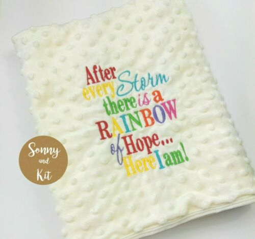 Boy Girl Adoption Personalised Rainbow Baby Blanket IVF After Every Storm