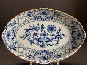 Antique-19TH-C-Meissen-Blue-White-Onion-Pattern-Serving-Oval-Bowl-Gold-Gilt-8-034