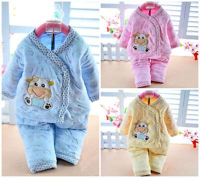 Cotton Warm Winter 2Pcs Newborn Toddler Baby Girls Boys 0-6M Outfits Set Clothes