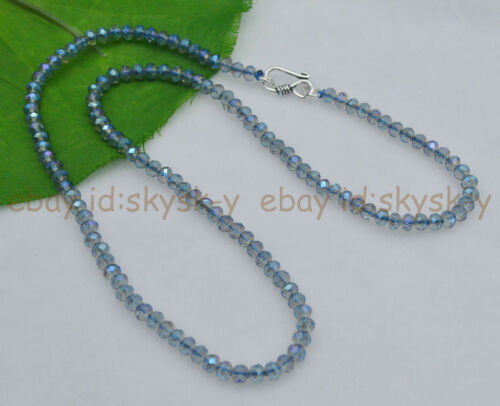 """3x4mm Blue AB Crystal Faceted Roundel Gems Beads Necklaces Silver Clasp 18/"""" AAA"""