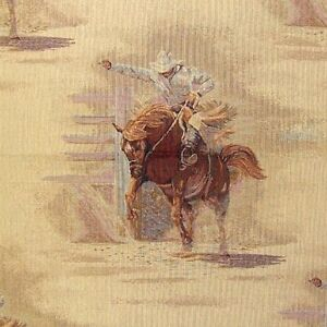 Bronco Rider Rodeo Western Rider Upholstery Fabric Pillows Throws