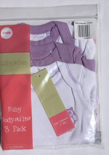 3 pack Baby Boy or Girl White with Lilac Trim Babygrows with Owl detail detail