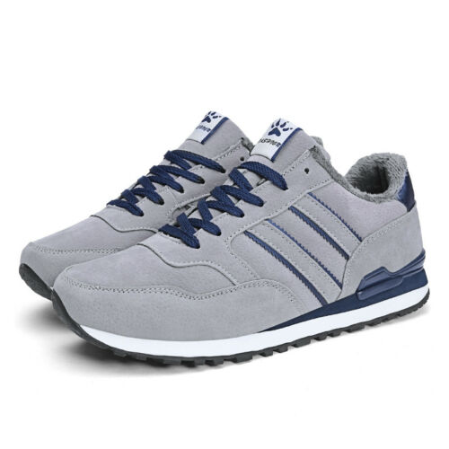 Mens Winter Running Shoes Fur Lined Leather Casual Walking Athletic Sneakers New
