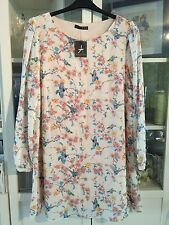 "E46 Atmos Plus Sz 20 Nude Chiffon Lined Floral&Bird 35""Long Tunic Dress NWT"