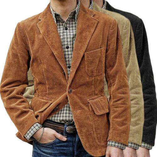 Vintage Mens Corduroy Suit Jacket Smart Casual Lapel Cord Blazer Coat Outwear UK