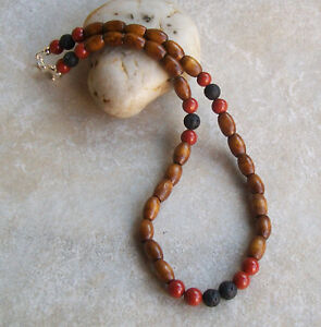 Details About Mens Brown Wood Bead Necklace Handmade Lava Red Jasper Beads