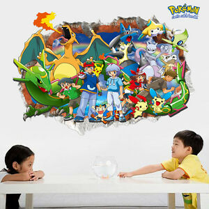 3D-Effect-Pokemon-Pikachu-Wall-Stickers-Mural-Decor-Kids-Room-Removable-Decal