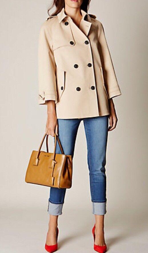 Karen Millen Modern Cotton Trench Coat Größe UK 12 EU 40 Sold Out