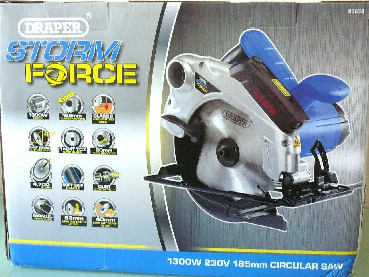 DRAPER Storm Force 185mm Circular Saw (1300W) 230V LASER CUTTING GUIDE