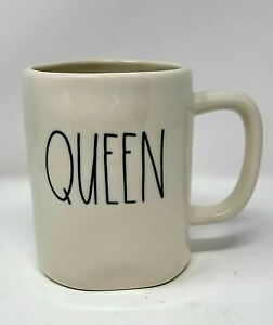 Rae-Dunn-Magenta-QUEEN-Coffee-Tea-Mug-Ivory-Artisan-Collection-Large-Letter