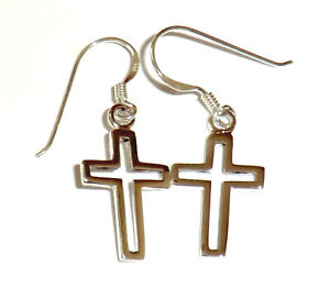 Kreuz-Ohrringe-925-Sterling-Silber-Schmuck-Ohrhaenger-Neu-Silver-Cross-Earrings