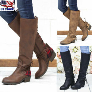 US-Womens-Winter-Boots-Mid-Calf-Low-Heel-Riding-PU-Leather-Knee-High-Shoes-Size